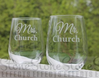 etched wine glass, wedding wine glasses, stemless, personalized, custom, mr and mrs, wedding wine glasses, etched wine glasses, engraved