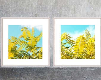 TwoTropical Leaf Print Set, Printable Digital Art, Large Art, Tropical Wall Art, Poster, Yellow Turquoise Tropical Decor, Instant Download