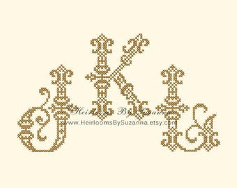 Large Ornamental Machine Cross Stitch Monogram Set - Antique Machine Cross Stitch Embroidery Initials, Vintage  Monogram - 4x4 - 25 Initials
