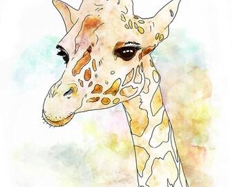 Giraffe - animal print, nursery art for kids decor room wall art for children