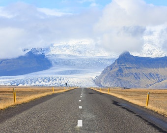 Open Road Photography - Iceland Landscape - Glacier, Mountain, Ice Photograph - Straight Road, Highway- Take the Road Less Traveled