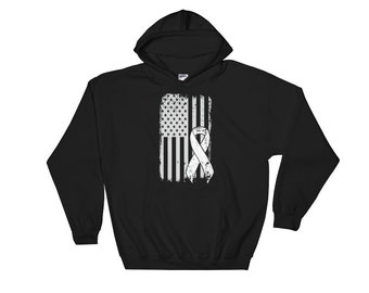 Lung Cancer Hoodie - Lung Cancer Awareness - Lung Cancer Ribbon - Lung Cancer Survivor - Lung Cancer Gift American Flag Chemo Hoodie