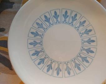 Homer Laughlin Blue Fleur De Lis dinner plates set Vouge Ironstone baby blue circular patterned plates