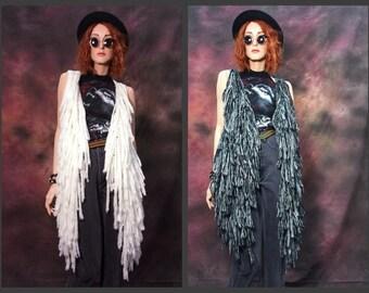 fuzzy fringe vest • festival clothing • Burning Man • sweater vest • yeti