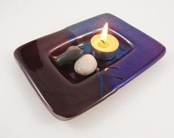 Purple Fused Glass Dish - Plum Purple Trinket Dish - Fused Glass Candle Dish - Iridized Glass Soap Dish - Secretary Gift - Stocking Stuffer