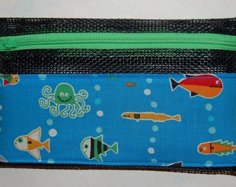 Pet-screen zippered wallet with cute sea creatures on blue fabric: use for cash, cards, ID, phone, supplies, makeup, travel, kids