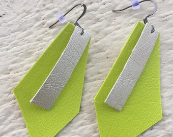 The Key Largo - Vinyl Earrings - Chartreuse