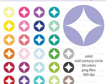 Mid-Century Circles Solid Icon Digital Clipart - Instant download PNG files