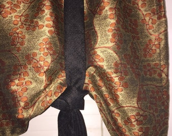 Window valance, tie up valance, rust orange window valance, rust black taupe window valance