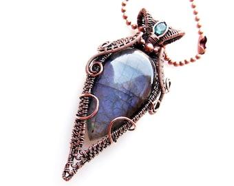 purple labradorite pendant, wire wrapped jewelry. copper wrap, wire wrap, wire weave, handmade jewelry, boho, artisan, Melissa Wood Jewelry