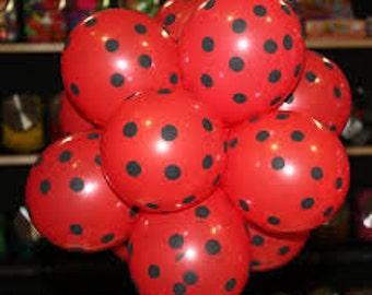 ladybug birthday balloons, miraculous party supllies, mickey party, Red Black Polka Dot Balloons, Birthday Party, Wedding Baby Bridal