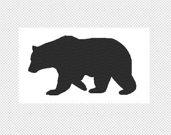 Solid black Bear Embroidery Design File - multiple formats - one color design -3 sizes - instant download