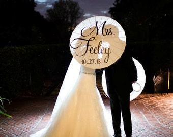 Parasol Custom Wedding MRS MR Parasol Umbrella Engagement Photo Decor Hand Painted White Ivory Parasol Ceremony