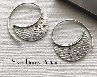 Sterling Silver, Crescent Hoop Earrings,  Threader Earrings, Tribal Jewelry, Artisan Earrings, Hand Fabricated, Textured, Crescent Moon