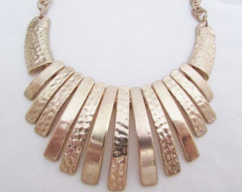 Vintage Punched Gold Tone Necklace - 1970s Chunky Large Chain Hanging Pieces