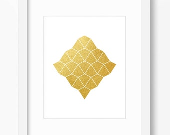 Gold foil print, geometric print, abstract art print, gold print, minimalist print, gold wall decor, instant download, 18x24 poster