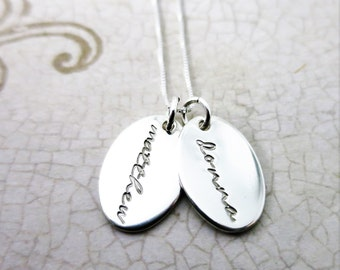 Custom Name Necklace - Oval Pendants - Sterling Silver Oval Necklace - Script Font - Hand Stamped Names - Mommy Jewelry - Mommy Necklace