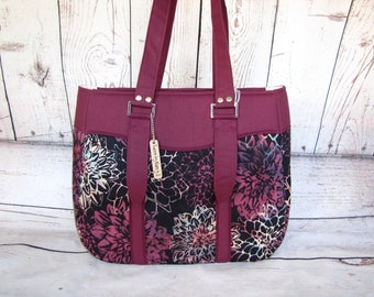 Maroon and multi color Flower Hand bag