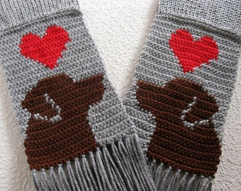 Chocolate Labrador Retriever Scarf.  Grey, crochet scarf with red hearts and brown labs. Knitted dog scarf. Labrador gift