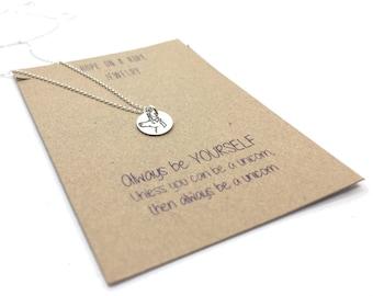Unicorn Necklace - Sterling Silver Unicorn Necklace - I Believe Necklace - Hand Stamped Unicorn Necklace - Unicorn Pendant - Unicorn Jewelry