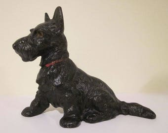 Vintage Hubley  Cast Iron Small Sitting Scottie Doorstop