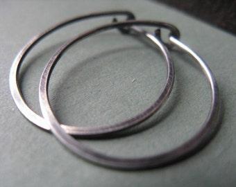 Hammered Hoop Earrings Sterling Silver