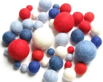 Medley Pack - 40PC Red White & Blue Felt Balls