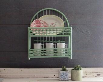 Vintage - Pale Mint- Wicker storage shelf – Rattan Shelf - mid century – Boho décor