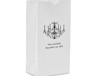 50 Elegant Chandelier Personalized Printed Wedding Candy Buffet Favor Bags
