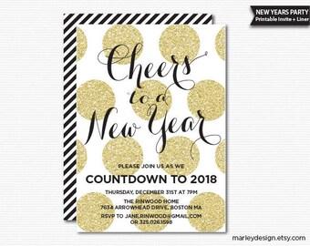 New Years Invitation New Years Party Invitation New Year's Invitation New Year's Party Printable Gold Glitter Polka Dots Digital Invite