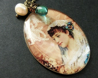 Beautiful Woman Necklace. Veiled Necklace with Teal Teardrop and Fresh Water Pearl. Handmade Jewelry.