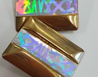 Vintage clip on earrings- laser metal 1980s statement jewellery