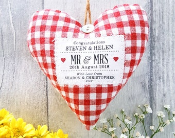 Mr and Mrs Personalised Wedding Gift / Wedding Present. Fabric Heart Decoration / Ornament. Choice of Fabric. Gift Boxed.