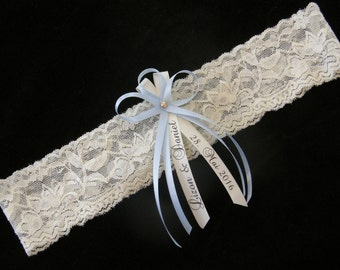 Wedding Bridal Elastic Lace Garter with  Bride and Groom / Couples Names and Wedding Date