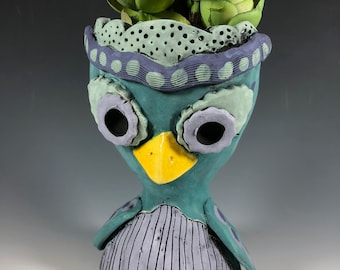 Judy Hoote the Owl // Small Sculpture // Succulent Pot // Animal Planter // Ceramic // Teal // Owl // Bird // Pothead // Unique // Gift
