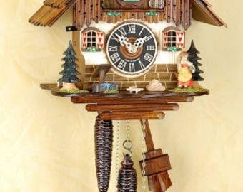 Black Forest Cuckoo clock Mechan. 1 day, chain train girl Cuckoo clock
