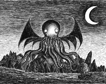 The Call of Cthulhu- A3 art print by Jon Turner- geeky HP Lovecraft pen and ink artwork- FREE Worldwide Shipping