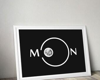 Moon Print, home decor, Print wall art, typography, quote print,  typography print
