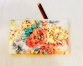 Make Up Bag/ Floral Pencil Case/ Gift for Her/ Mothers Day Gift for Women/ Best Friend Gift/ Gift for Mom/ Wife Gift/ Teacher Gift/ Pouch