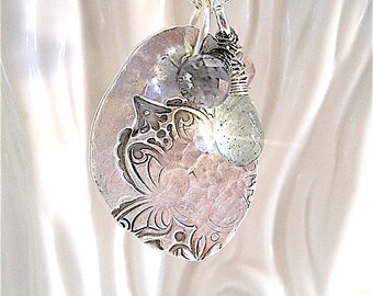 Handmade Peaceful Faded Lotus Silver Pendant  with Wire Wrapped Gemstones, Mehndi, Yoga Style , Jewellery, Your Daily jewels