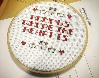 Hummus Where the Heart is Cross Stitch