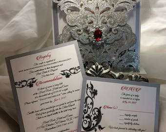 "NEW* -Glitter Laser Cut Wedding Invitation ( sample )- ""Images of Love"""