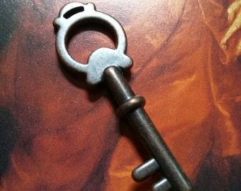 """Copper Key Pendant Steampunk Key Skeleton Key Antiqued Copper Key Charm Skeleton Key Charm 1.75"""""""