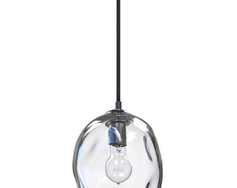 Clear River Rock Hand Blown Glass Pendant Light Lighting Glass Pendants and Chandeliers