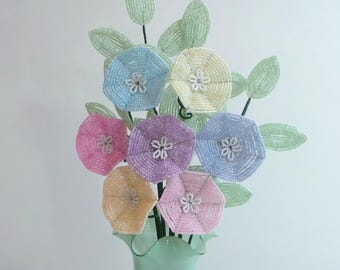 Beaded Flowers French Beaded Pastel Morning Glories