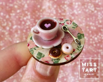 Coffee Cup Miniature Ring with Donuts / Fake Food Jewelry / Dollhouse Miniature