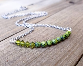 Crystal Bar necklace - bar necklace - olive green - snake print - bar pendant - simple layering necklace - green crystal bar - snake skin