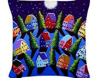 Blue Peace on Earth Houses Folk Art Pillow - Woven Throw Pillow Whimsical Art by Renie Britenbucher