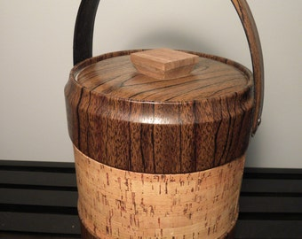 Mid Century Cork and Woodgrain Vinyl Ice Bucket