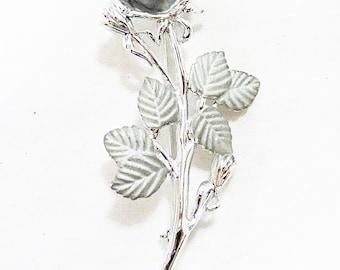 Vintage rose brooch pin silver tone flower